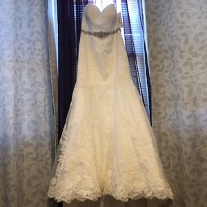 Soft white David's bridal wedding gown
